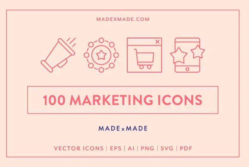 100 Unique Marketing Icons