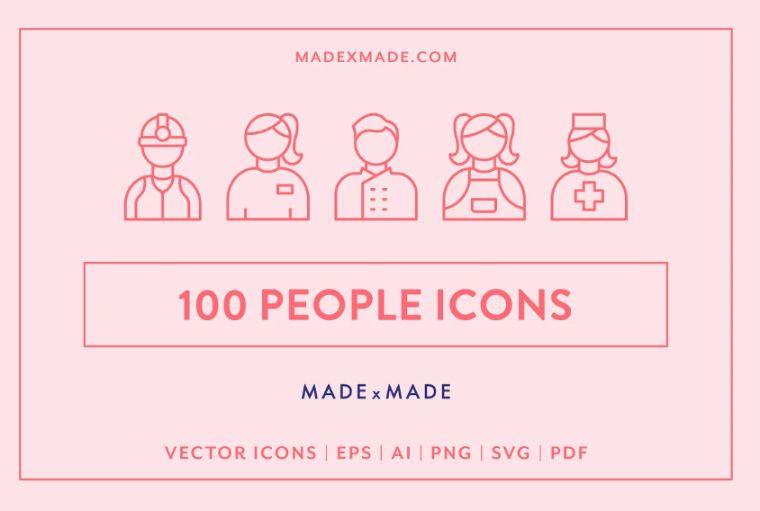 100 Unique People Line Icons