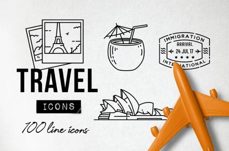 Unique travel icons
