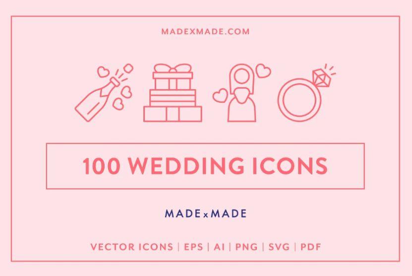 100 Wedding Line Icon Set