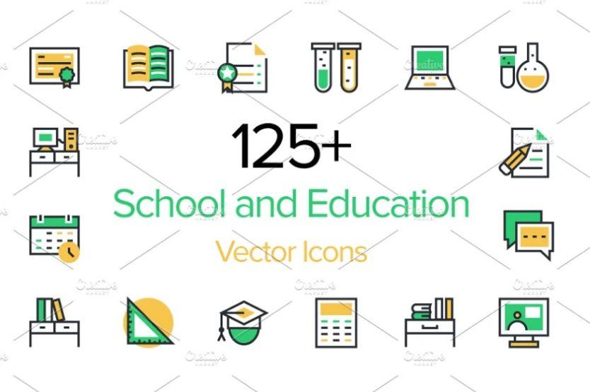 125 School Vector Icons Set