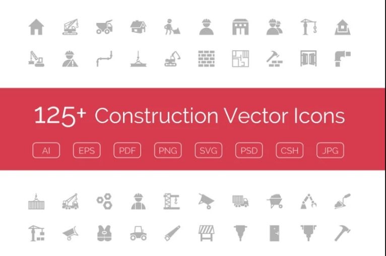125 Under Construction Vector Icon Set