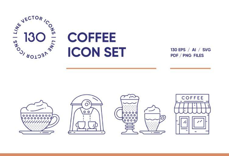 130 Coffee House Icons Set