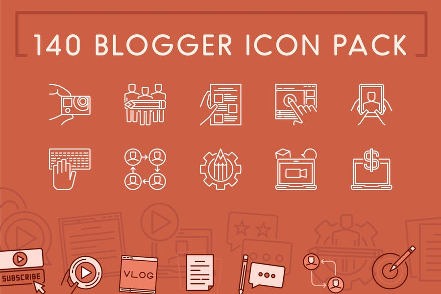 140 Blogger Icons Pack