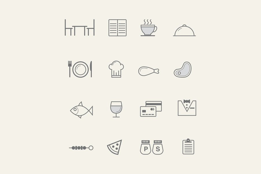 15 Line Style Restaurant icons