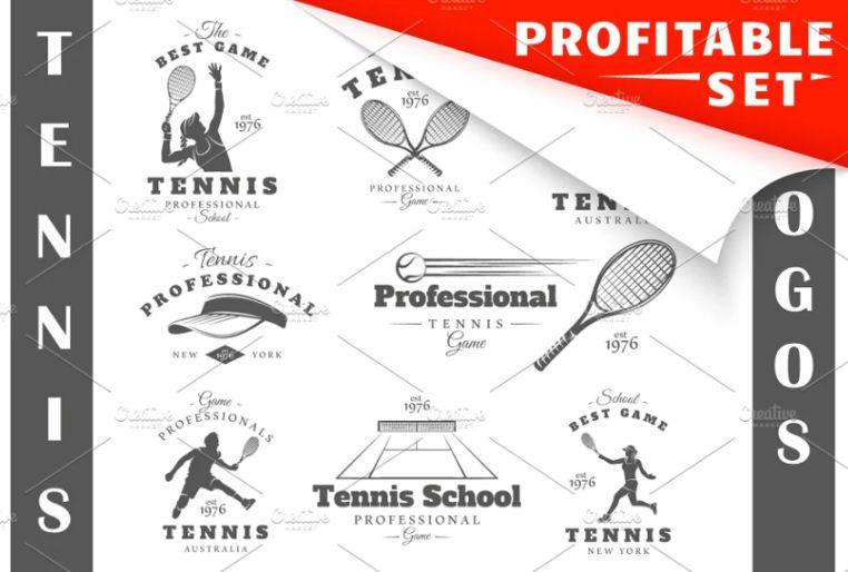 16 Tennis Logo Set