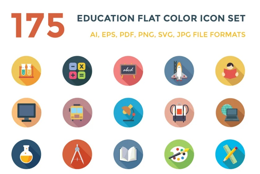 175 Educational Flat Icons