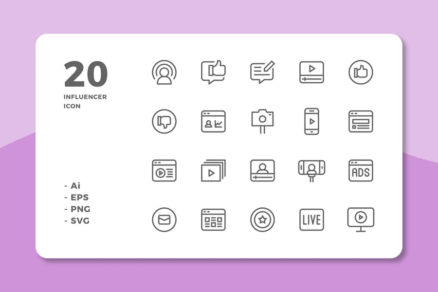 20 Influencer Icons Set