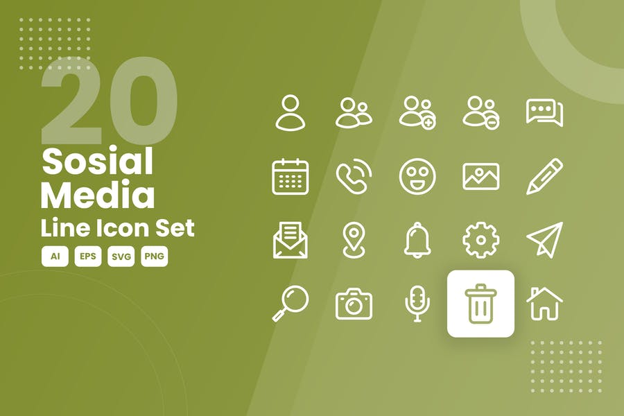 20 Lined Social Icons Set