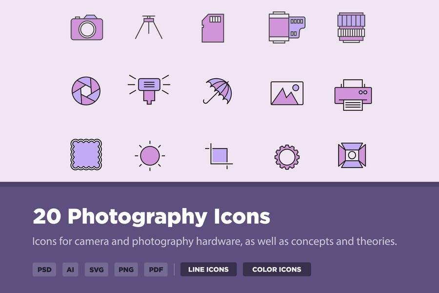20 Photography Hardware Vector Set