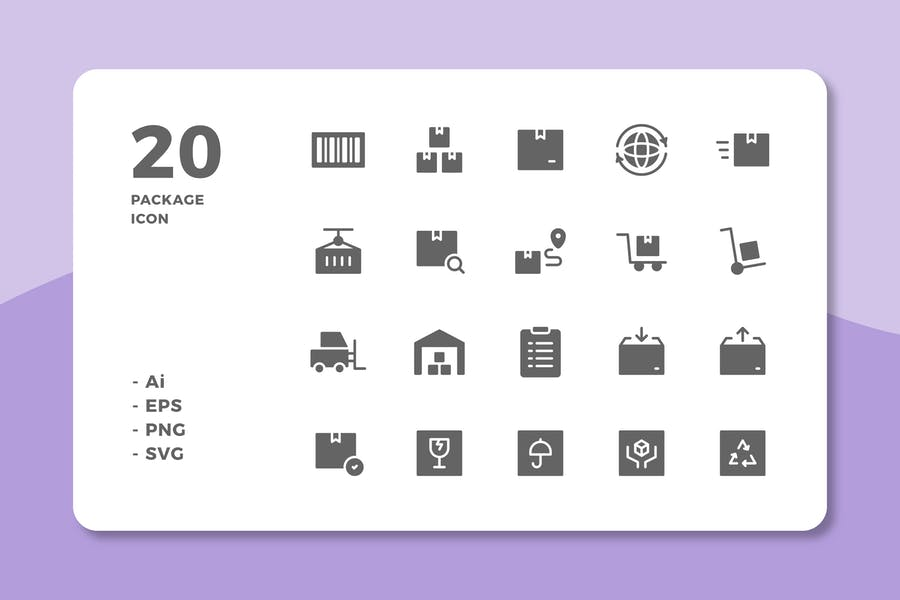 20 Solid Packaging Icons Set