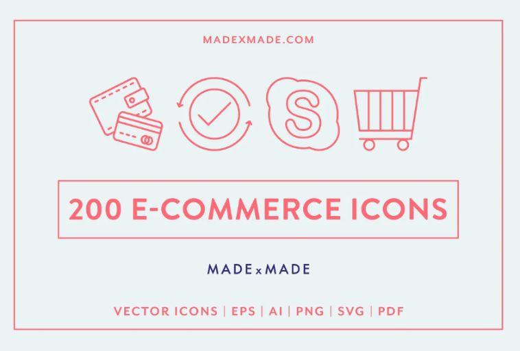 200 E-Commerce Line Icons Set