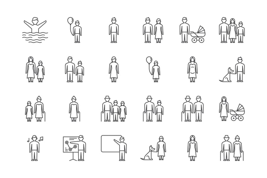 25 Creative Lined People Icons