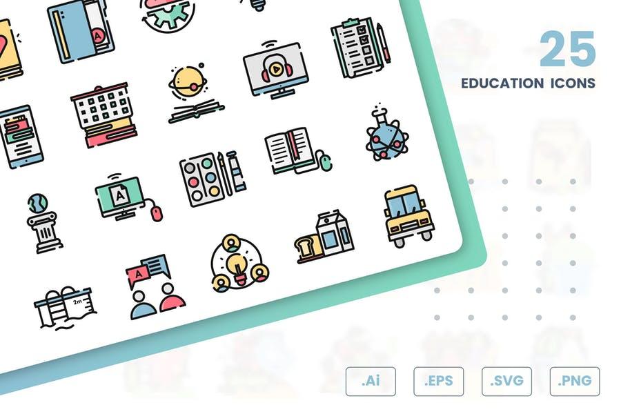 25 Educational Icons Set