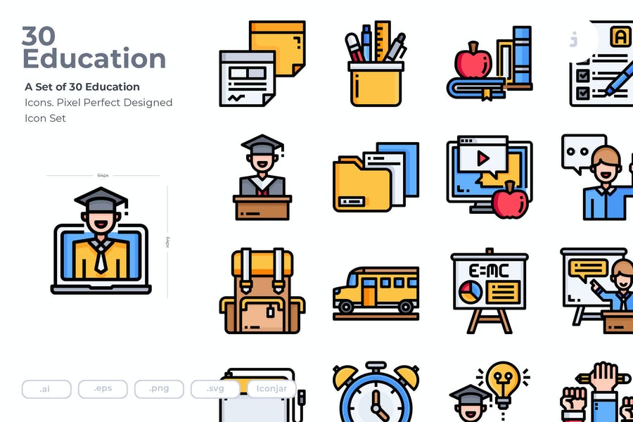 30 Colored Educational Icons