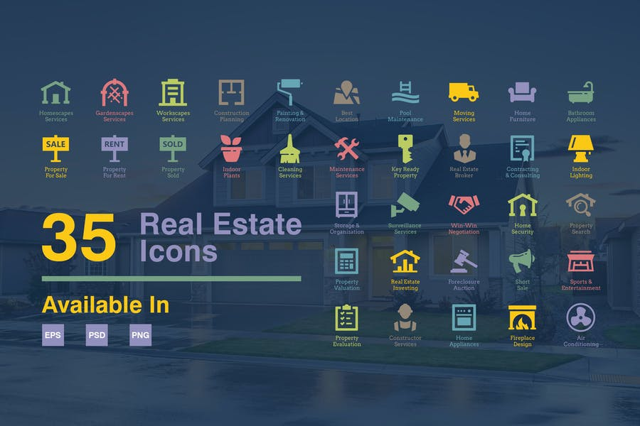 35 Clear Real Estate Icons