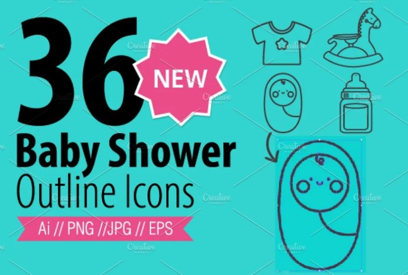 36 New Baby Shower Outline Icons