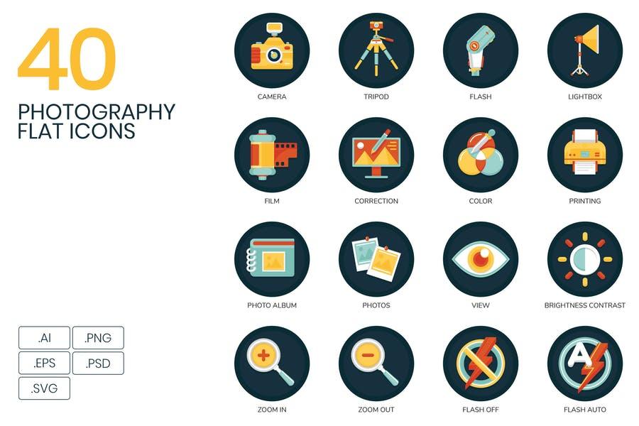 40 Photography Flat Icons