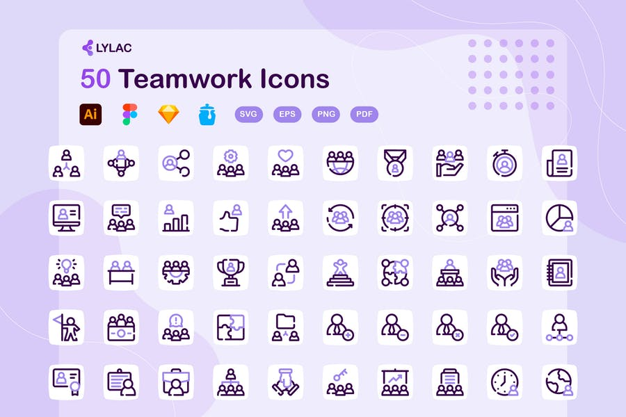 50 Dotted Teamwork Icons