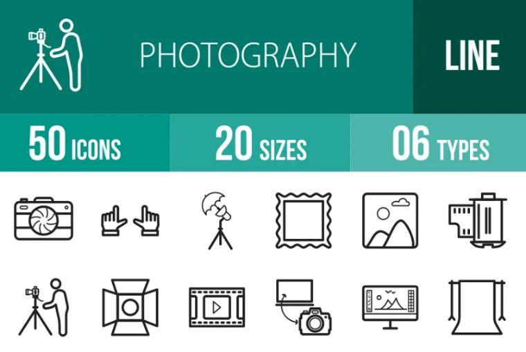 50 Photography Line Icon Set