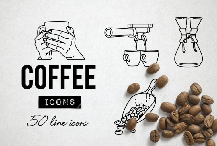 50 Unique Lined Coffee Icons