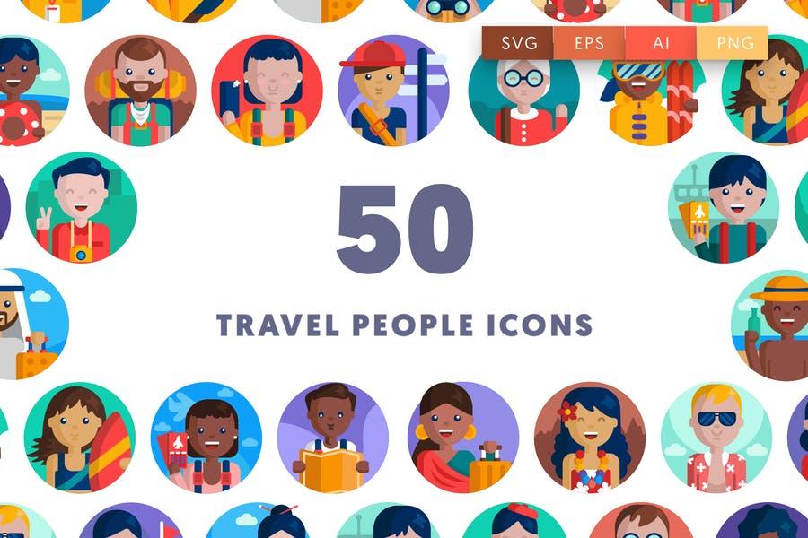 50 Unique Travel People Icons
