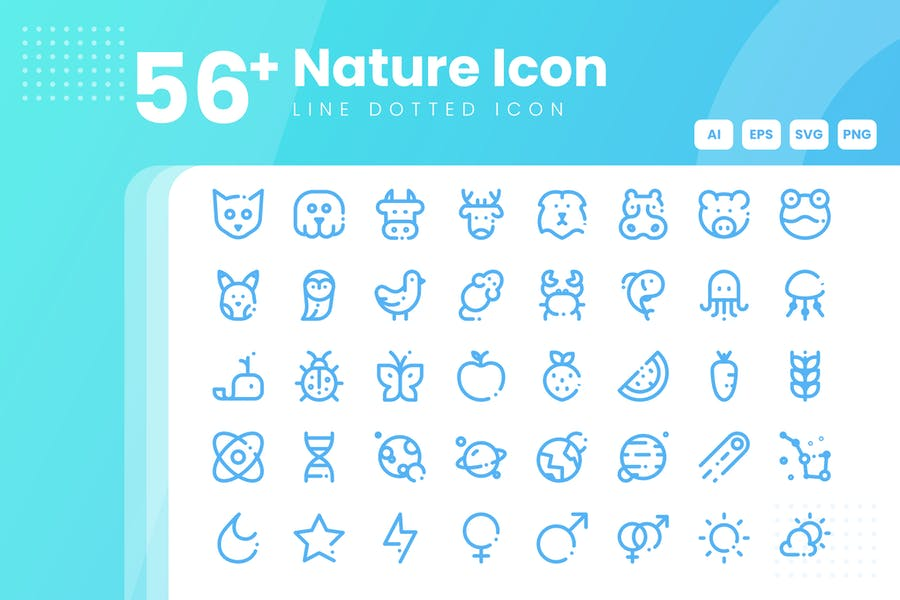 56 Outlined Natural Icons