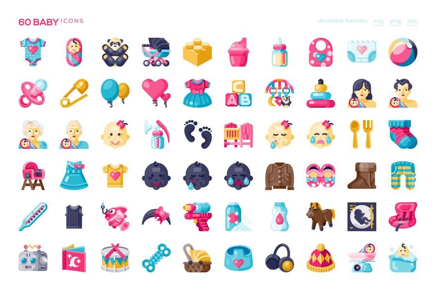 60 Unique Baby Icons Set