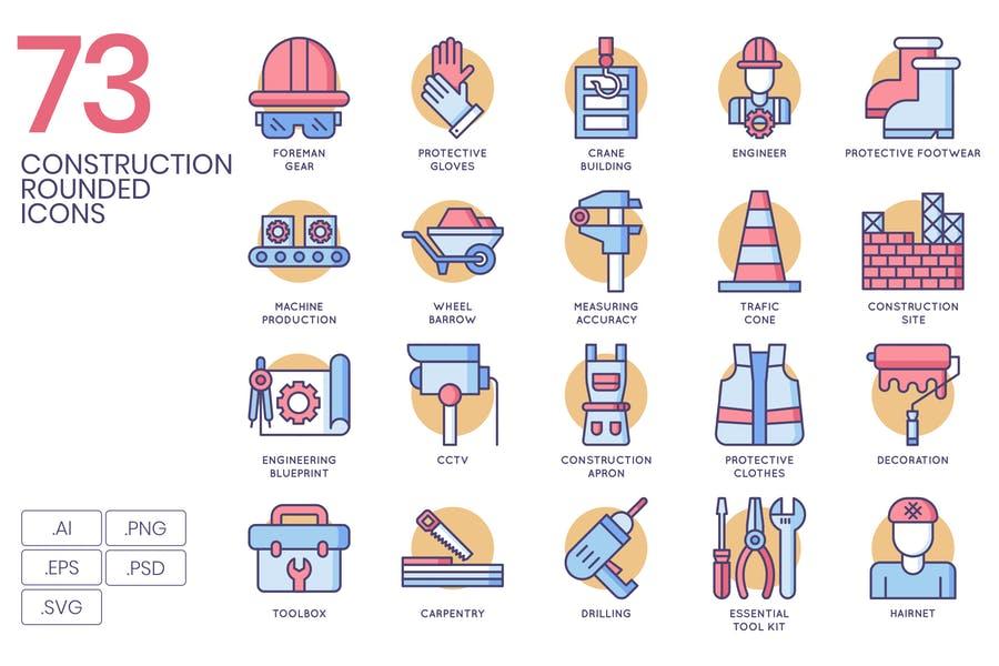 73 Unique Construction Icons Set