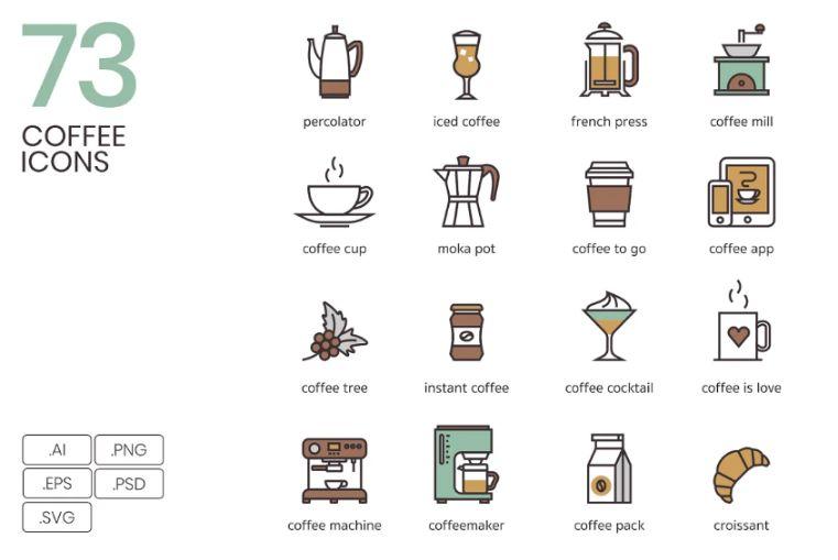73 Unique Flat Coffee icons