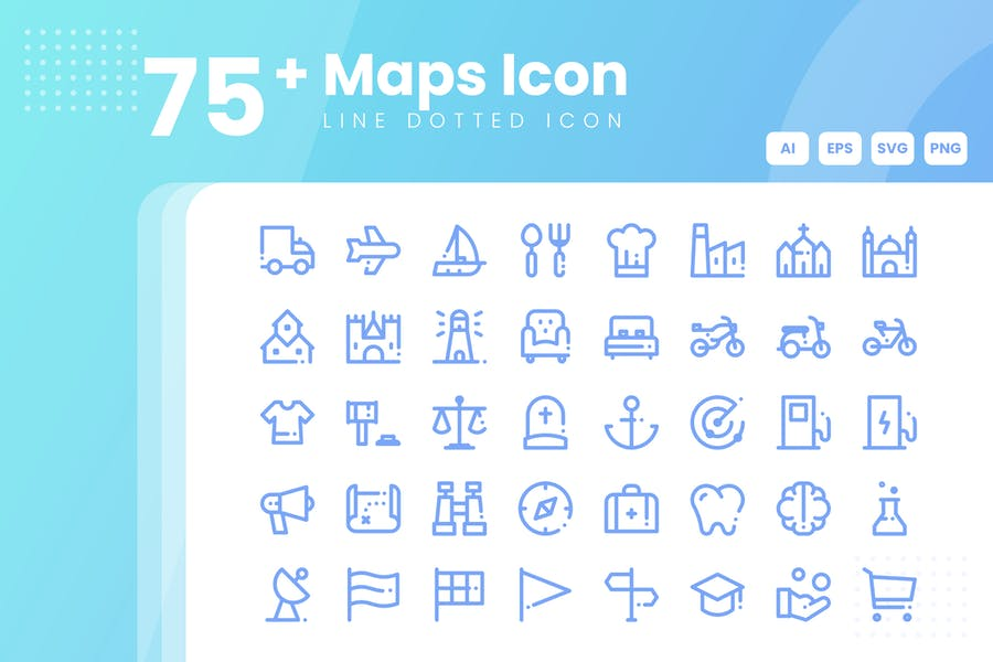 75 Line Dotted Map Icons