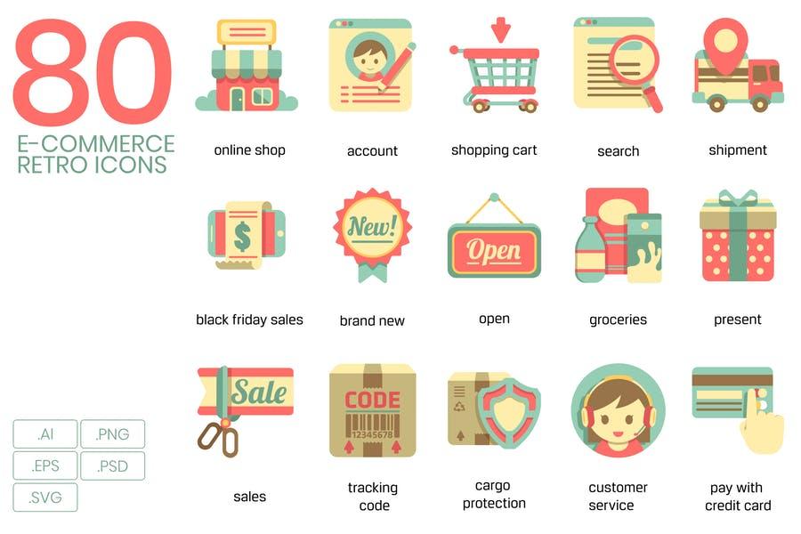 80 E Commerce Retro Vector Icons