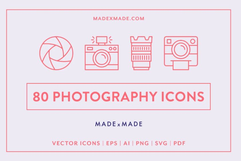 80 Photography Line Icons