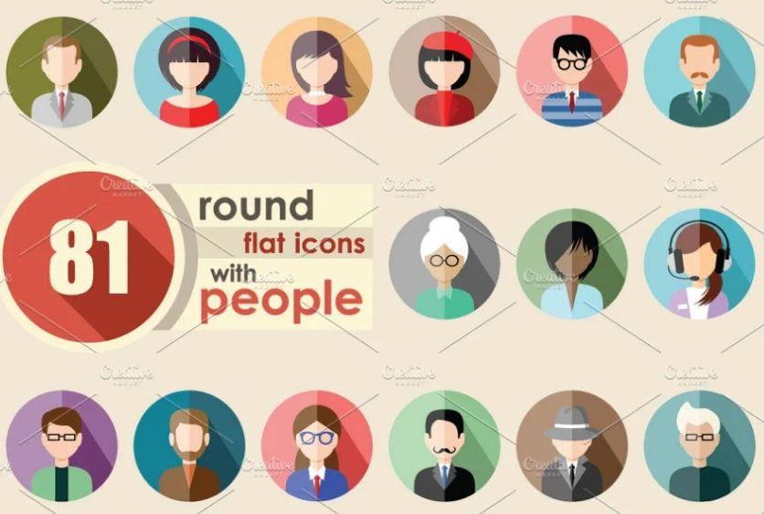 81 Flat Round Icons Set