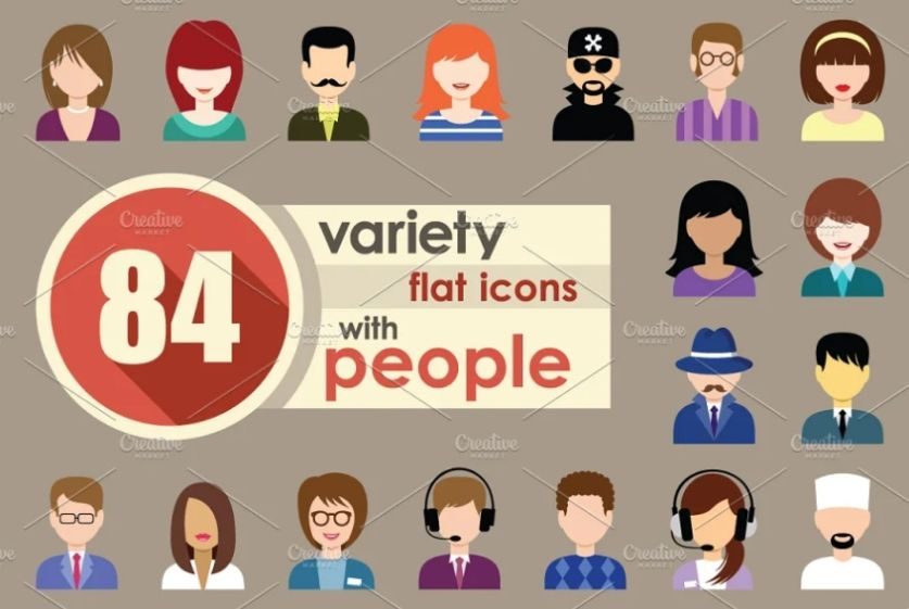 84 Flat People Icons Set