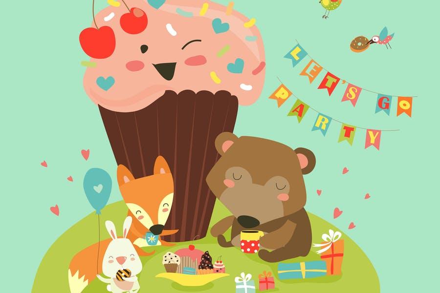 Animal Birthday Background Design
