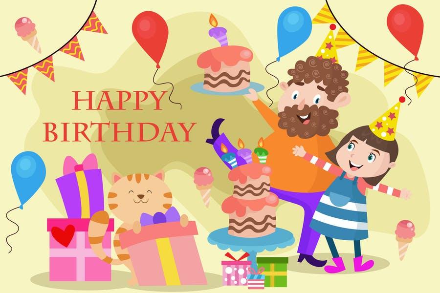 Birthday Celebration Vector Wallpaper