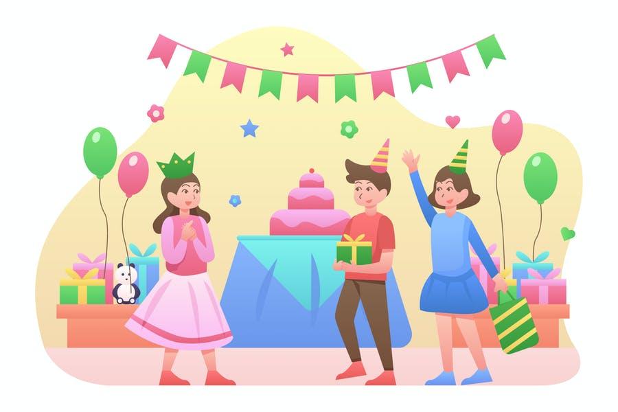 Birthday Kid Illustration Design