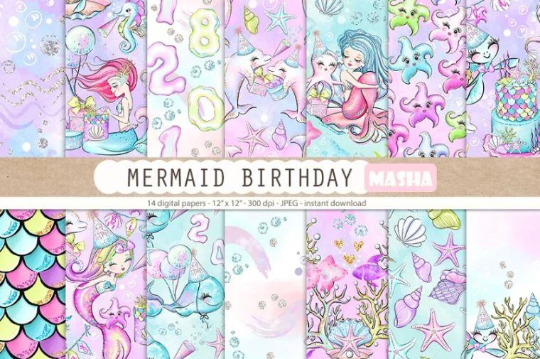 Birthday Mermaid Digital Papers