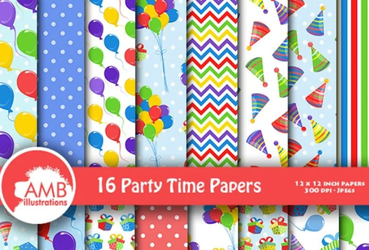 Birthday Party Digital Paper Backgrounds