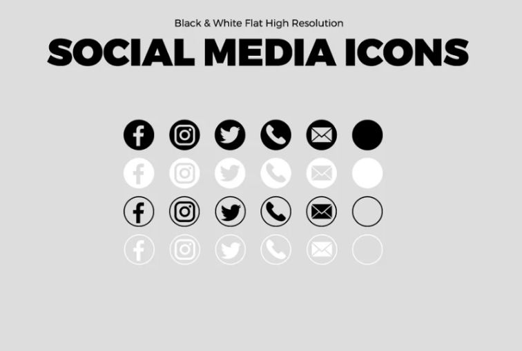 Black and White Flat Icons