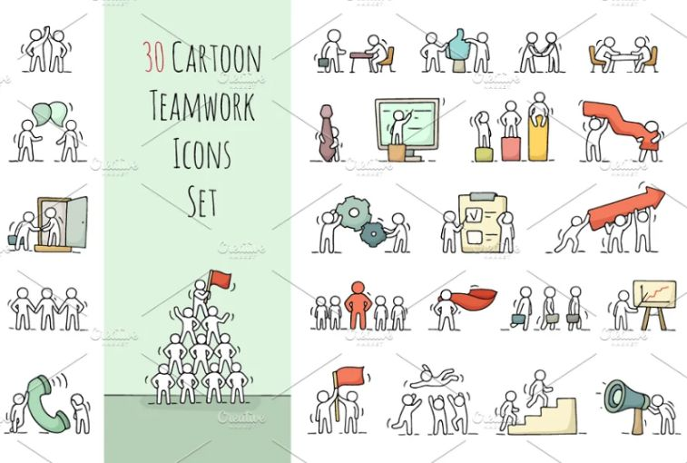 Cartoon Style Teamwork Icons