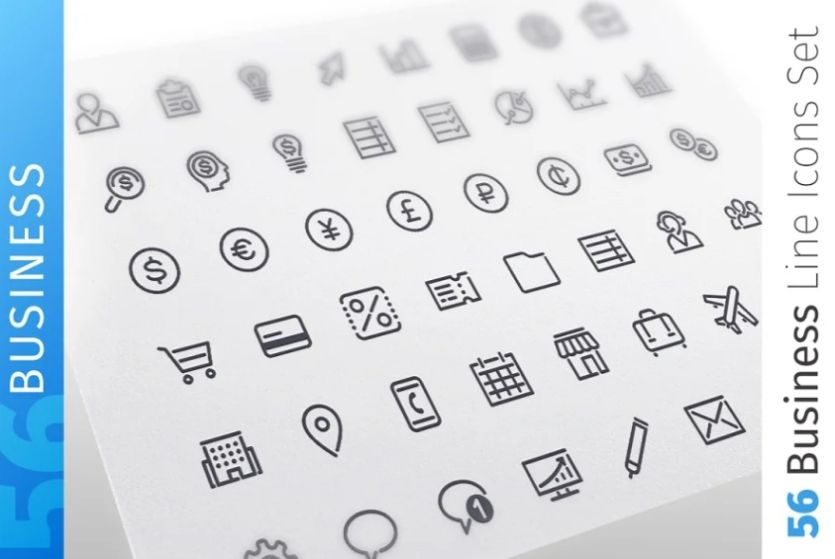 Clean Business line Icons