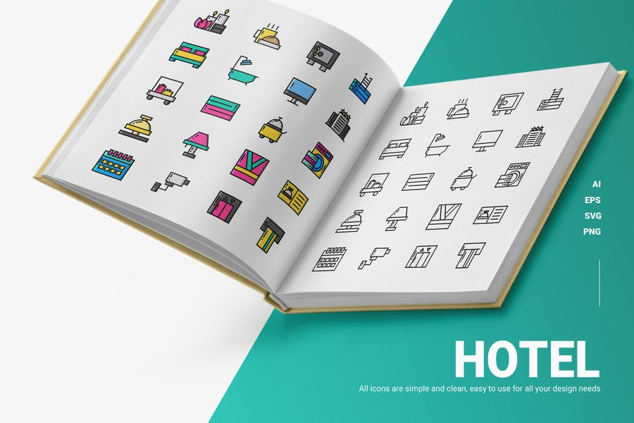 Clean Hotel Vector Objects