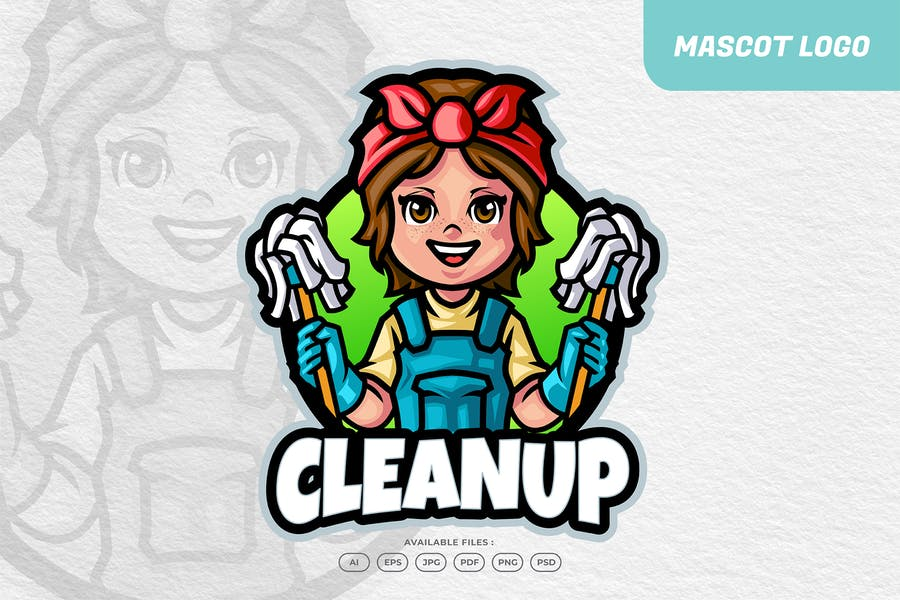 Cleaning Services Mascot Logo
