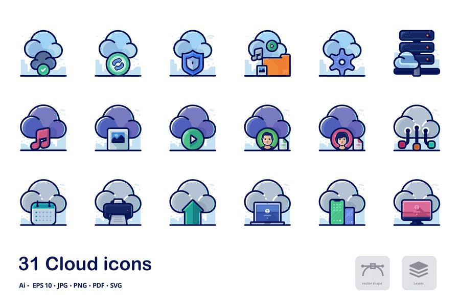 Cloud Outline and Filled Icons