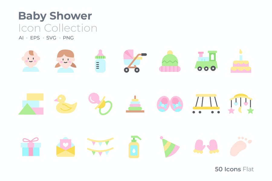Colored Baby Shower Icons Set