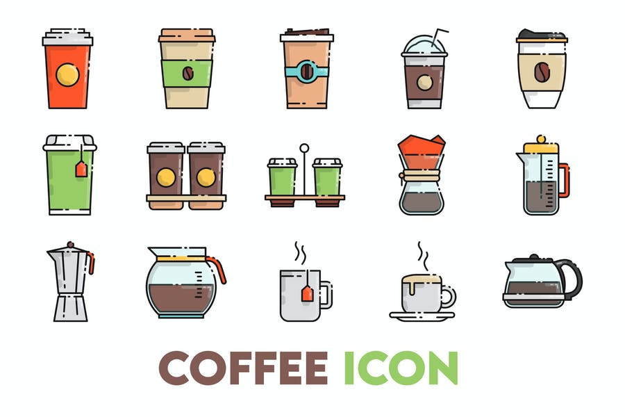 Colored Coffee Icons Set