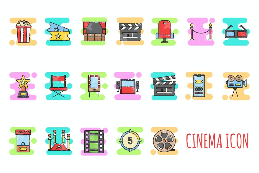 Colorful Movie Icons Set