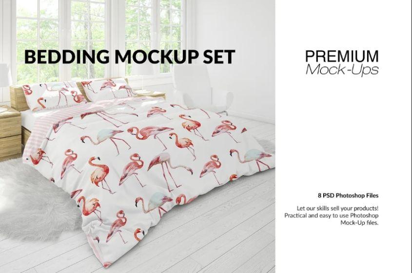 Creative Bedroom Scene Mockup PSD